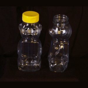 Bear, 12oz Clear Plastic w/ Yellow Snap Cap – 12 Pack.