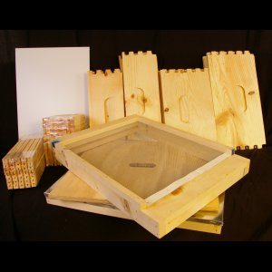 Unassembled 2 Deep, 2 Medium w/ Wood Bound Frames and Plastic Foundation