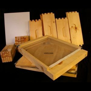 Unassembled 5 Medium w/ Wood Bound Frames and Wired Wax Foundation