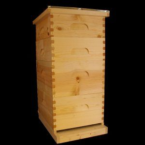 Assembled, UnPainted 2 Deep, 2 Medium Hive w/ Wire Wax Foundation